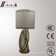 Hotel Decorative Linen Fabric Bedside Polished Brass Reading Table Lamp