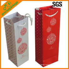High Quality Art Paper Wine Bottle Carry Bags