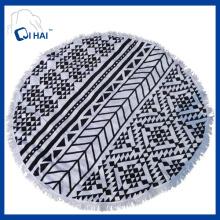 100% algodão borlas toalha de praia redonda (qde445)