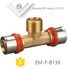 EM-F-B138 Male thread inox press fitting Aluminum plastic Tee pipe fitting