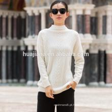 Suéter branco de 100% caxemira