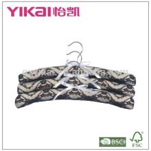 Set of 3pcs khaki satin padded hanger with black lace decorated
