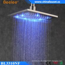 2016 novo banheiro escovado quadrado filtrado LED luz chuveiro