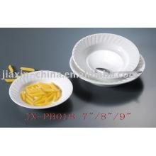 Weiße Farbe Restaurant Porzellan Geschirr JX-PB018