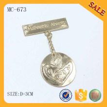 MC673 Vêtements habillement à coudre personnalisé étiquette à étiquettes en métal à bas prix