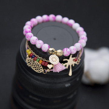 Wave Bracelet Set Mountain Daisy Flower Heart Pearl Waterproof Wax Coated Braided Rope Friendship Bohemian Handmade Bracelet