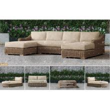 ALAND COLLECTION - Nuevo diseño sofá de mimbre sintético sofá de muebles de jardín conjunto