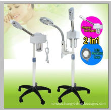 2in1 Aromatherapy Facial Steamer Rolling Base and 5 Diopter LED Magnifying Lamp