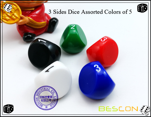 3 Sides Dice Assorted Colors of 5
