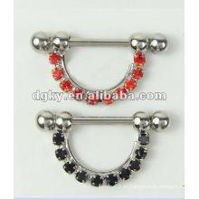 Pezón Barbell Piercing Diamante Nipple Joyería