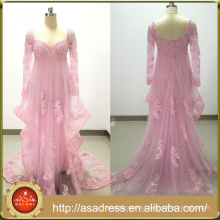 ASAM-14 Luxury Sequins Beaded Lace Appliques Ruffles Tulle long Sleeves Pink Evening Dresses