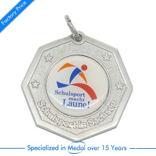 High Quality Zinc Alloy Stamping Souvenir Schulsport Running Medal with Printed Paster
