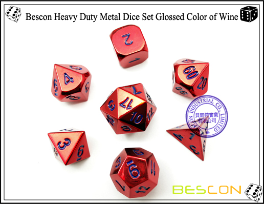 Bescon Heavy Duty Metal Dice Set Glossed Color of Wine-5