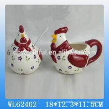 Easter cock ceramic seasoning pot set