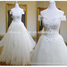 Importación de vestidos de novia de China fuera del cordón de hombro de encaje desmontable de encaje hasta vestido de novia de espalda