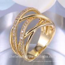 Venta caliente señoras dedo anillo de oro diseño Arabia Saudita anillo de bodas de oro