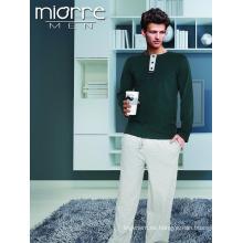 Miorre Wholesale Hombres manga larga% 100 pijamas de algodón conjunto con botones y bolsillos
