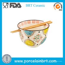 Flower Printing Korean Noodle Bowl with Chopsticks