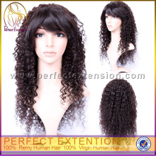 For Woman Indian Virgin Natural Curly 100% Human Hair Fashion Long Wig