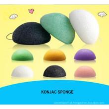 Esponja Konjac Beauty Essentials 100% Natural Konjac Lavagem Facial Cosmética Puff Verde Carvão Branco