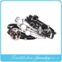 Woman fashion 2014 silver or rose gold plated stainless steel diy leather cord friendship charm bracelet