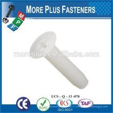 Fabriqué en taiwan de haute qualité phillips tête à tête plate pour vis en plastique nylong