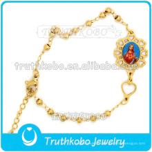 Bracelet de médaille en gros de charme de médaille de Christ en acier inoxydable d'or St.Holy Image Bracelet de femmes