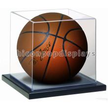 Merchandising Counter Top Hölzerne Base Clear Acryl Cover Mini Single Basketball Vitrine