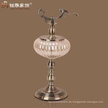 Vase mit Ständer und Deckel indischen Dekoration Metall Vase Metall und Glas Dekor