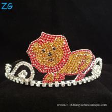 Rhinestone colorido bonito Leão Tiara para crianças cristal meninos metal coroa