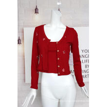 Ladies Embroidered Ribbed Cardigan Suit