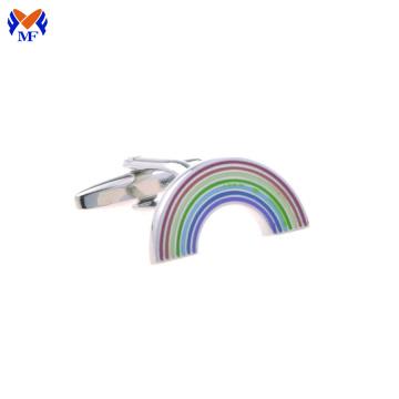 Emaille-Manschettenknopf im Regenbogendesign aus Edelstahl