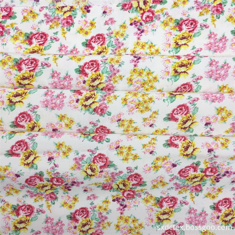 White Base Flowers Printed Fabric