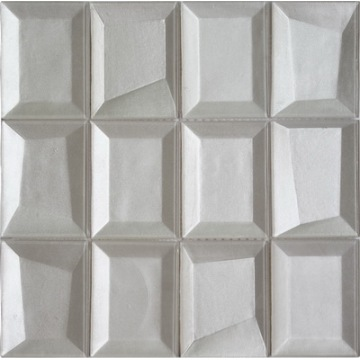 Rectangle white color 3D glass mosaic