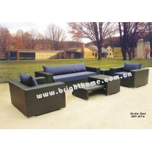 Aluminio PE ratán mimbre sofá muebles al aire libre Bp-874