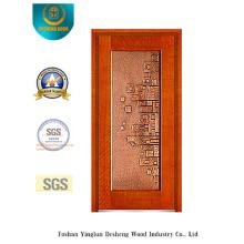 Golden Security Steel Door with Iron Art (b-8003)