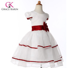Grace Karin Red And White Short Sleeve Flower Girls Dresses CL4605