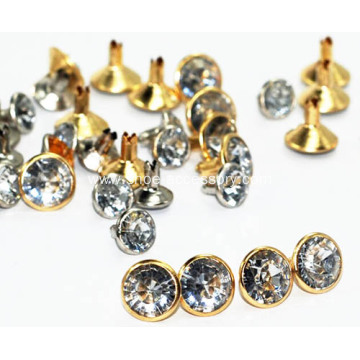Gold Tone Rivet with Crystal Diamond Embellished