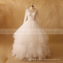 Elegant Multi Layers Long Sleeve Exquisite Beads Lace Ball Robe de mariée