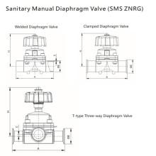 Válvula de diafragma manual de acero inoxidable sanitario (SMS ZNRG)