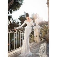 Vintage Scoop Neck See Through Corset Totalmente Lace Appliqued Open Back Mermaid Long Sleeve Vestidos de casamento A080