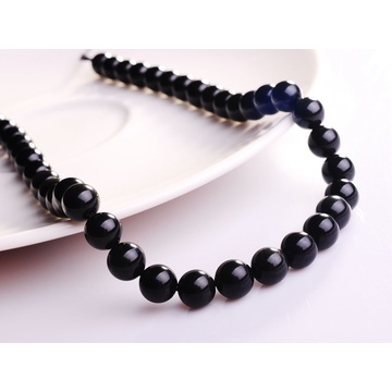 8MM Natural Black Obsidian Round Gemstone Beads 16""
