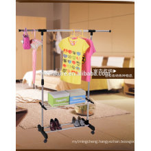 Telescopic double rols cloth dryer and rack with stoarage rack