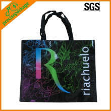 bonito eco reutilizable logo impreso no tejido laminado bolso de compras
