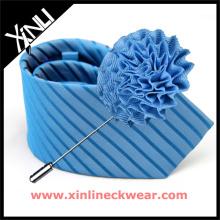 Solapa pin flor hombres coincidencia jacquard seda tejida corbatas y solapas