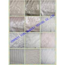 Tejido de jacquard de algodón de color blanco para hotel