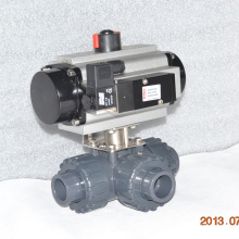 union en plastique véritable de haute qualité 3 voies UPVC union connexion airpowered robinet à boisseau sphérique