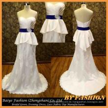 Spitze-Satin-Brauthochzeits-Kleid-Schatz-Brautkleid peplum Abendkleid