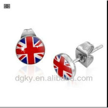 Mens Stainless Steel Union Jack Flag Stud Earrings 7mm