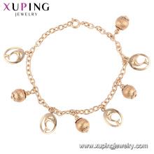 75170 Xuping venta al por mayor de cobre ambiental hilo de seda pulsera de cuentas de oro para muestra gratis